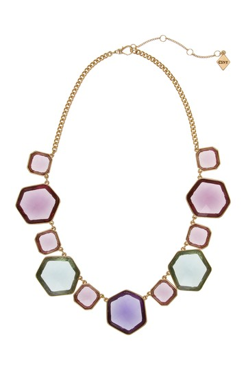 Multicolor Glass Stone Statement Necklace Christian Siriano New York