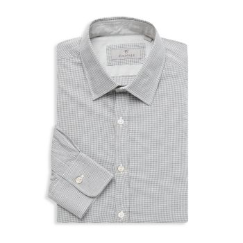 Modern-Fit Graph Check Dress Shirt Canali