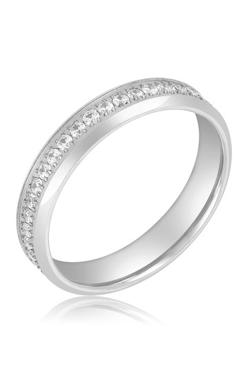 Silver Band Crystal Pave Eternity Ring ADORNIA