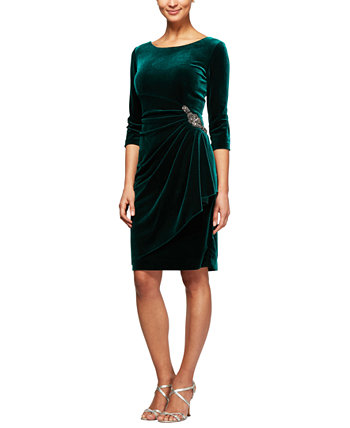 Velvet Ruched-Side Scoop-Back Dress Alex Evenings