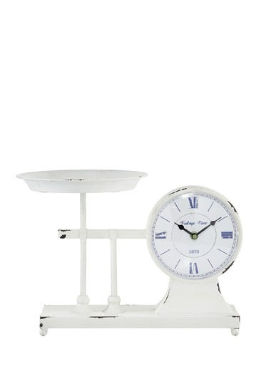 Distressed Metal Table Clock Scale & Plate Willow Row