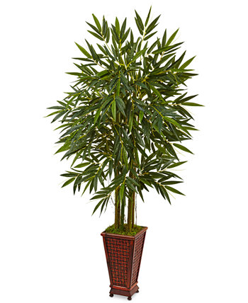 5.5' Bamboo Artificial Tree in Decorative Wood Planter NEARLY NATURAL
