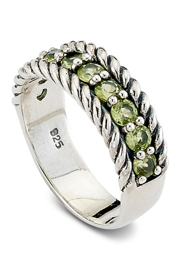 Sterling Silver Channel Set Peridot Band Ring Samuel B Jewelry