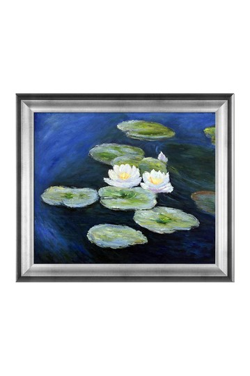 """Water Lilies; Evening with Athenian Silver Frame , 25"""" x 29"""" No brands"""