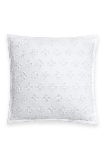 "white oversized eyelet decorative pillow - 16"" x 16"" Kate Spade New York"