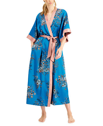 INC Contrast-Trim Long Wrap Robe, Created for Macy's INC International Concepts