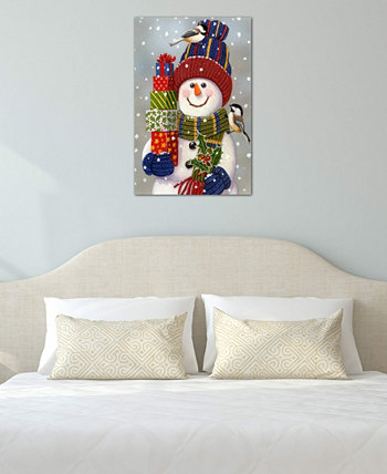 """Snowman With Presents"" by William Vanderdasson Gallery-Wrapped Canvas Print (40 x 26 x 0.75) ICanvas"