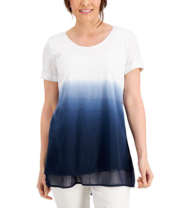 Short-Sleeve Dip Dye Tunic, Created for Macy's J&M Collection