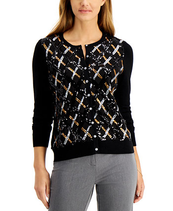 Petite Argyle-Sequin Cardigan Sweater, Created for Macy's Charter Club