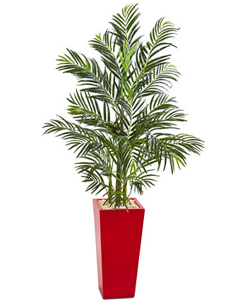 5' Areca Palm Artificial Tree in Red Planter NEARLY NATURAL