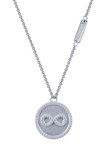 Platinum Plated Sterling Silver Micro Pave Simulated Diamond Sentimentals Infinity Pendant Necklace LaFonn