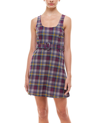 Juniors' Belted Plaid Dress PLANET GOLD