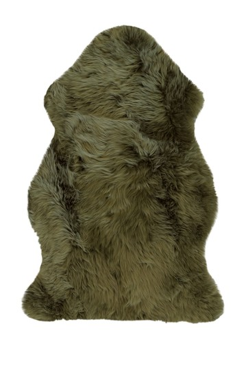 Natural Milan Genuine Sheep Shearling Single Sheepskin Rug - 2ft x 3ft  - Khaki Natural