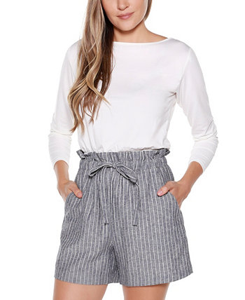 Black Label Striped Belted Shorts Belldini