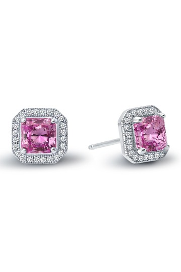 Platinum Plated Sterling Silver Simulated Diamond & Lab-Grown Pink Ruby Princess Cut Stud Earrings LaFonn