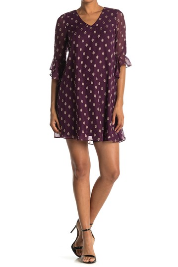 Clip Dot V-Neck Cascading Sleeve Shift Dress Calvin Klein