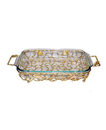 Rectangular Gold-Tone Handled Pyrex Holder with Leaf Design Classic Touch
