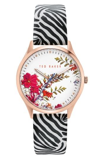 Women's Belgravia Printed Leather Strap Watch, 36mm Ted Baker