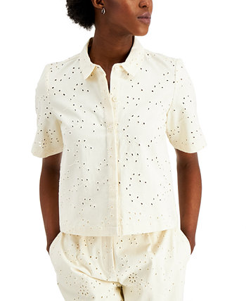 Petite Cotton Eyelet Top, Created for Macy's Alfani