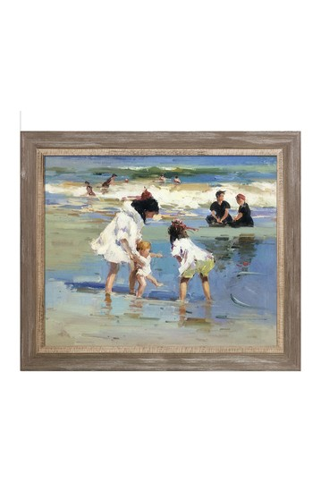 """Children Playing at the Seashore with Miramar Distressed Charcoal Grey Frame , 25"""" x 29"""" No brands"""