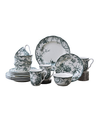 Adelaide Green 16 Piece Dinnerware Set, Service for 4 222 Fifth