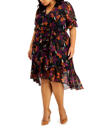 Plus Size Floral-Print Faux Wrap Dress Calvin Klein