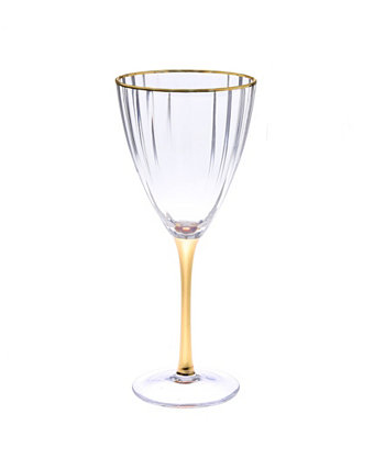 Set of 6 Straight Line Textured Wine Glasses with Vivid Gold Tone Stem and Rim Classic Touch