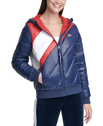 Striped Hooded Puffer Jacket Tommy Hilfiger