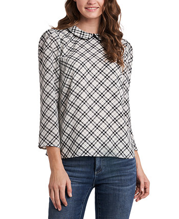 Collared Plaid 3/4-Sleeve Blouse CeCe