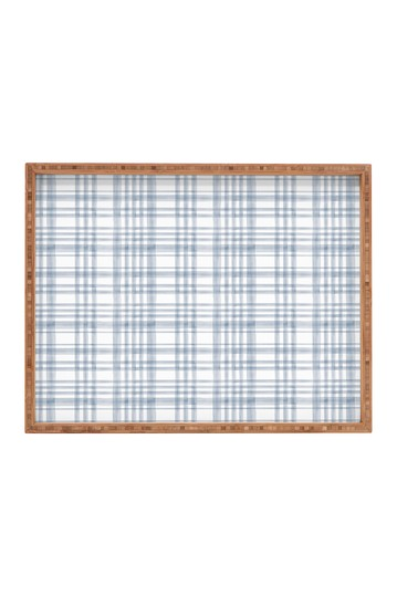 Little Arrow Design Co Winter Watercolor Plaid Blue Rectangular Tray Deny Designs