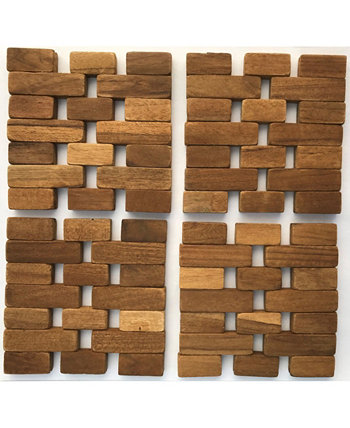 Teak Coasters, Set Of 4 Hip-o Modern Living