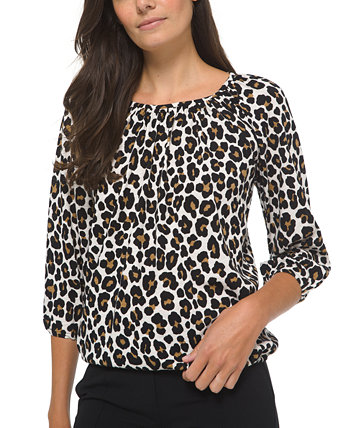 Animal-Print Cotton Peasant Top, Regular & Petite Sizes Michael Kors