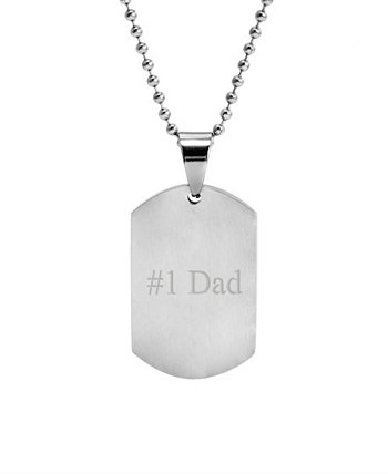 """Men's Stainless Steel """"1 Dad"""" Brushed Finish Dog Tag Pendant Necklace Eve's Jewelry"""