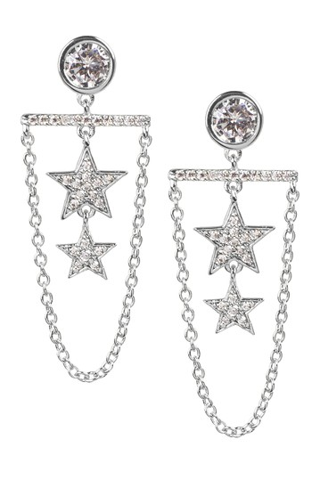 Pave CZ Star & Chain Drop Earrings CZ By Kenneth Jay Lane
