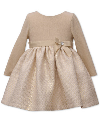 Baby Girls Gold Brocade Party Dress Bonnie Baby