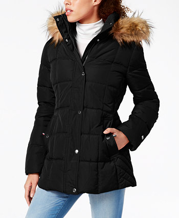 Petite Faux-Fur Trim Hooded Water-Resistant Puffer Coat, Created for Macy's Tommy Hilfiger