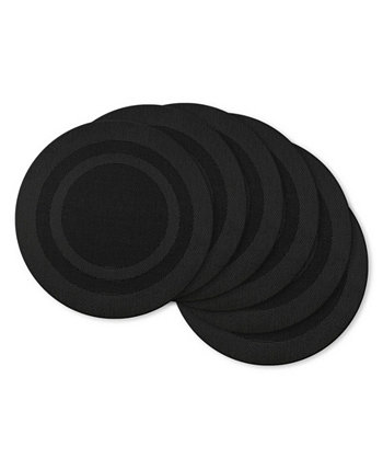 Black Round Double frame Placemat, Set of 6 Design Imports