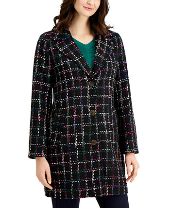 Plaid Long Jacket, Created for Macy's Charter Club