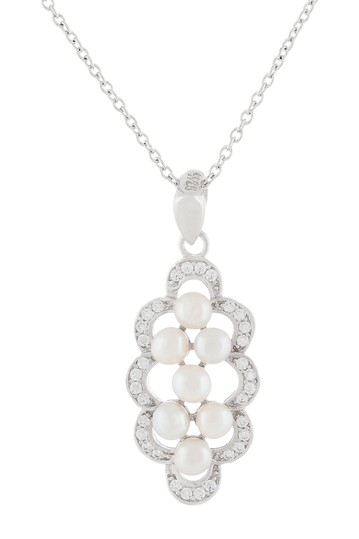 Sterling Silver 3-4mm White Freshwater Pearl & CZ Pendant Necklace Splendid Pearls