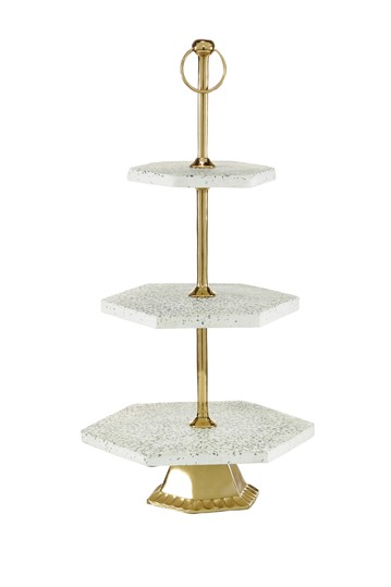 "Multi Stoneware and Aluminum Natural 3 Tier Tray Stand - 23"" x 12"" x 10"" Willow Row"