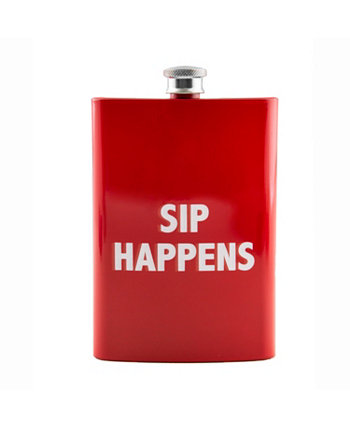 """8 oz Red """"Sip Happens"""" Flask THIRSTYSTONE"""