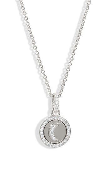 Rhodium Plated CZ Trim Moon Pendant Necklace NADRI
