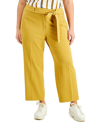 Trendy Plus Size Belted Straight-Leg Pants, Created for Macy's Bar III