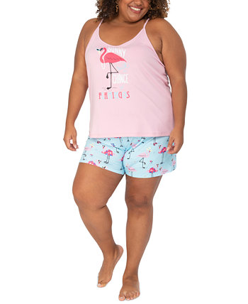 Plus Size Flamingo Tank & Shorts Sleep Set Munki Munki