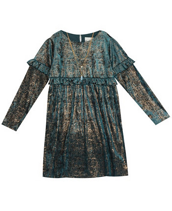 Little Girl Foil Crushed Velvet Babydoll Dress With Ruffle Detail And Necklace Rare Editions