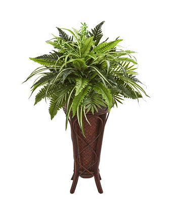 "32"" Mixed Greens and Fern Artificial Plant in Decorative Stand NEARLY NATURAL"