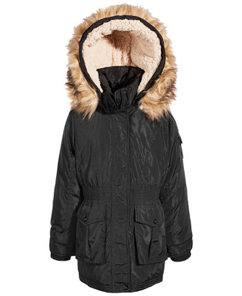 Little Girls Hooded Anorak with Faux-Fur Trim Steve Madden