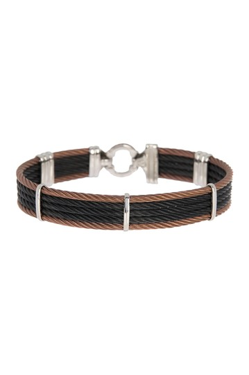18K White Gold Black Brown Stainless Steel Cable Cascade Chain Bracelet ALOR