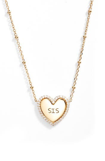 18K Gold Plated CZ Trim Heart Sis Pendant Necklace NADRI