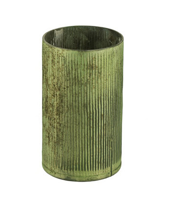 Tall and Wide Vase In Papaya Green Metallic Finish AB Home